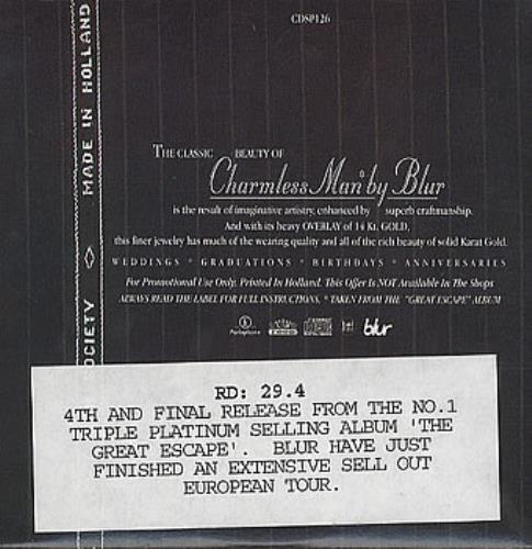 """Blur Charmless Man CD single (CD5 / 5"""") UK BLRC5CH63440"""