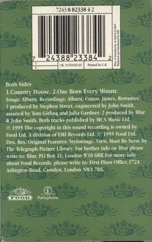 Blur Country House cassette single UK BLRCSCO61665