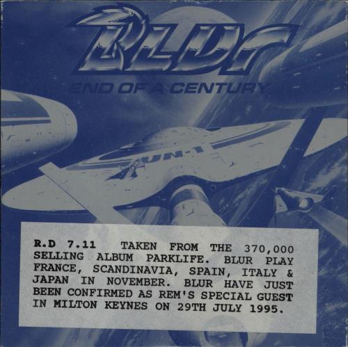 "Blur End Of A Century CD single (CD5 / 5"") UK BLRC5EN35976"