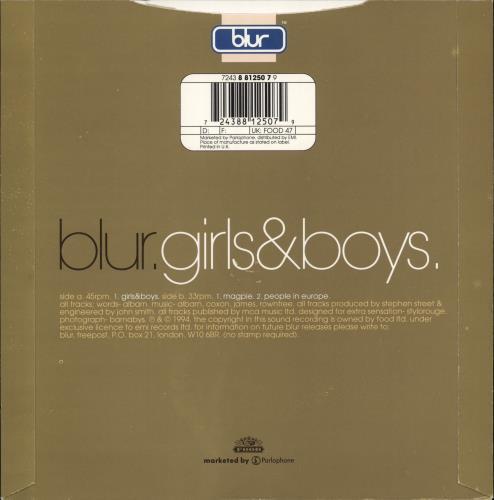 "Blur Girls & Boys - Numbered 7"" vinyl single (7 inch record) UK BLR07GI88121"