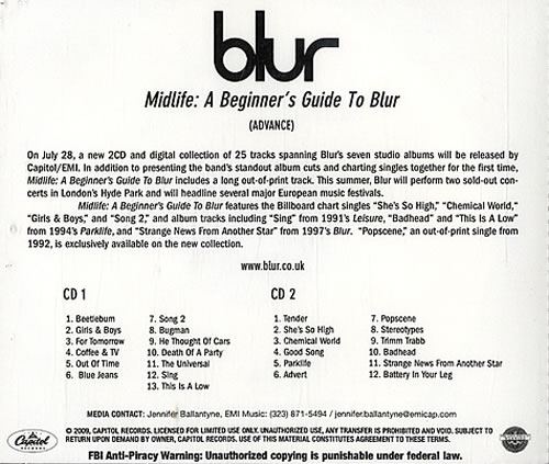 Blur Midlife: A Beginners Guide To Blur 2 CD album set (Double CD) US BLR2CMI477038