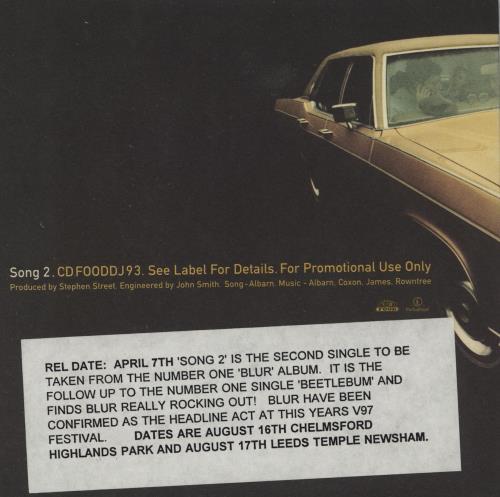 "Blur Song 2 CD single (CD5 / 5"") UK BLRC5SO82852"