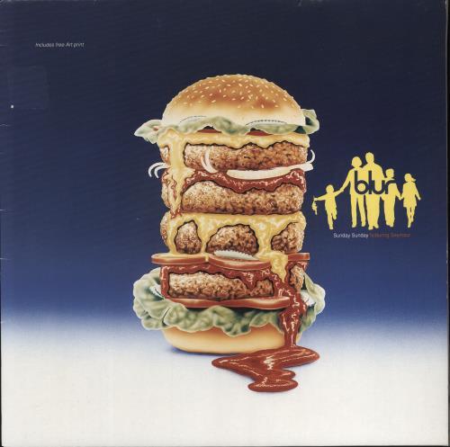 """Blur Sunday Sunday + Art Print - EX 12"""" vinyl single (12 inch record / Maxi-single) UK BLR12SU713311"""