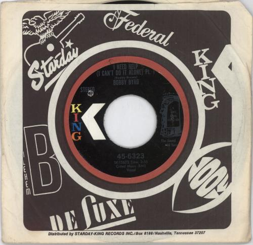 "Bobby Byrd I Need Help (I Can't Do It Alone) 7"" vinyl single (7 inch record) US YBY07IN703285"