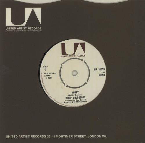 "Bobby Goldsboro Honey - 4 prong centre 7"" vinyl single (7 inch record) UK G0L07HO565705"