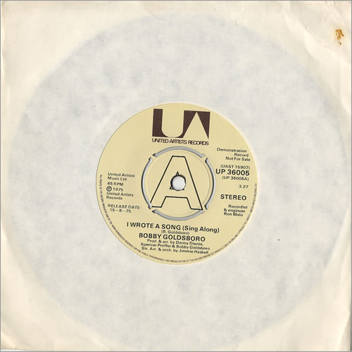 """Bobby Goldsboro I Wrote A Song (Sing Along) - A Label 7"""" vinyl single (7 inch record) UK G0L07IW478689"""