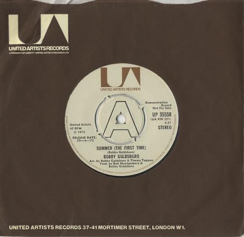 "Bobby Goldsboro Summer [The First Time] 7"" vinyl single (7 inch record) UK G0L07SU469903"