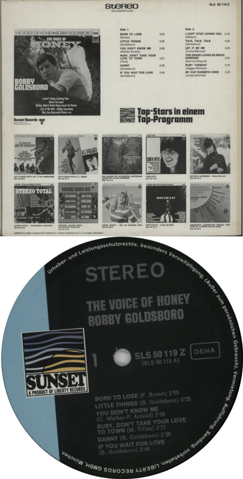 Bobby Goldsboro The Voice Of Honey vinyl LP album (LP record) German G0LLPTH618183