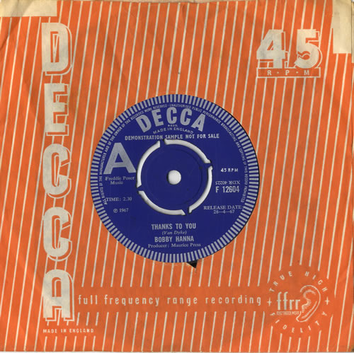 "Bobby Hanna Thanks To You 7"" vinyl single (7 inch record) UK B1H07TH484688"