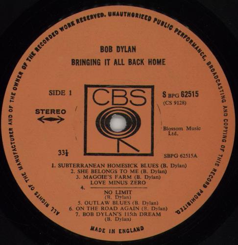 Bob Dylan Bringing It All Back Home - plain orange label vinyl LP album (LP record) UK DYLLPBR65592