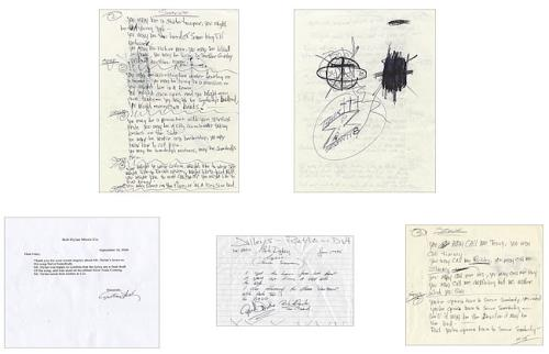 Bob Dylan Gotta Serve Somebody Handwritten Lyrics memorabilia US DYLMMGO443847