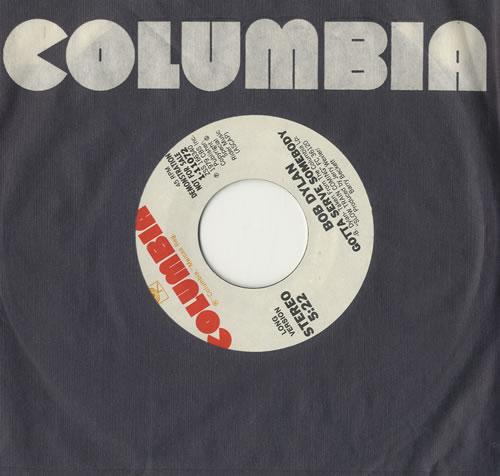 """Bob Dylan Gotta Serve Somebody 7"""" vinyl single (7 inch record) US DYL07GO100531"""