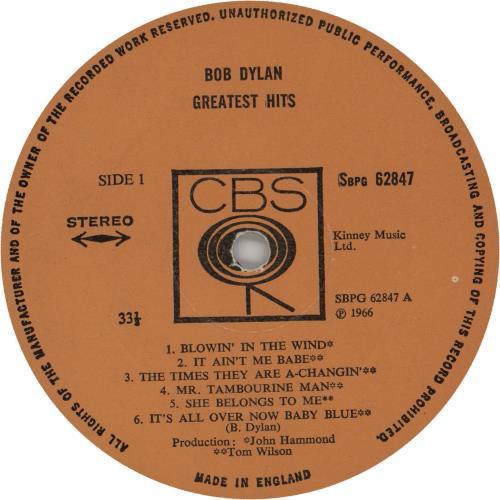 Bob Dylan Greatest Hits - 3rd Stereo vinyl LP album (LP record) UK DYLLPGR65615