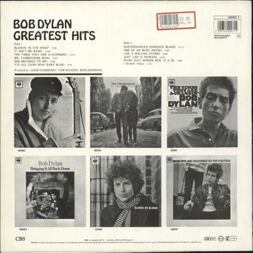 Bob Dylan Greatest Hits - Red Label - Stickered vinyl LP album (LP record) UK DYLLPGR312063