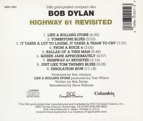 Bob Dylan Highway 61 Revisited CD album (CDLP) US DYLCDHI527745