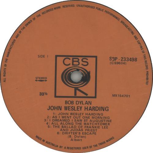 Bob Dylan John Wesley Harding vinyl LP album (LP record) Australian DYLLPJO654421