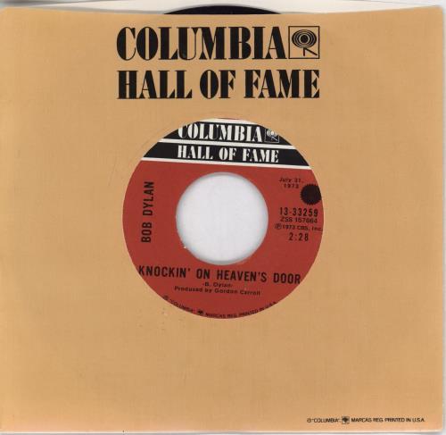 "Bob Dylan Knockin' On Heaven's Door 7"" vinyl single (7 inch record) US DYL07KN768789"