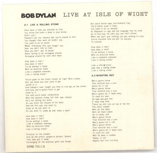 """Bob Dylan Live At The Isle Of Wight EP 7"""" vinyl single (7 inch record) Japanese DYL07LI266816"""