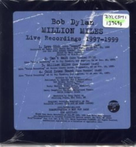 "Bob Dylan Million Miles - Live Recordings 1997-1999 CD single (CD5 / 5"") US DYLC5MI139694"