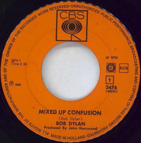 "Bob Dylan Mixed Up Confusion 7"" vinyl single (7 inch record) Dutch DYL07MI775369"