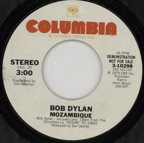 "Bob Dylan Mozambique 7"" vinyl single (7 inch record) US DYL07MO287517"