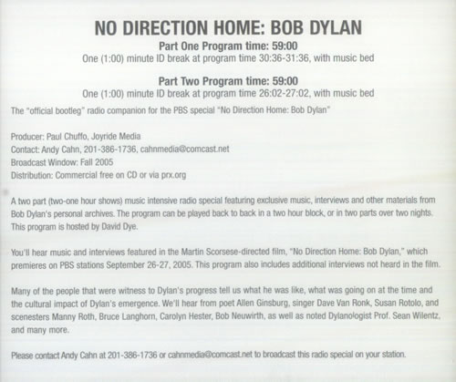 Bob Dylan No Direction Home: The Soundtrack - Radio Special 2 CD album set (Double CD) US DYL2CNO543626