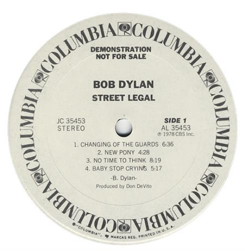 Bob Dylan Street Legal - Timing Strip US Promo vinyl LP album (LP ...