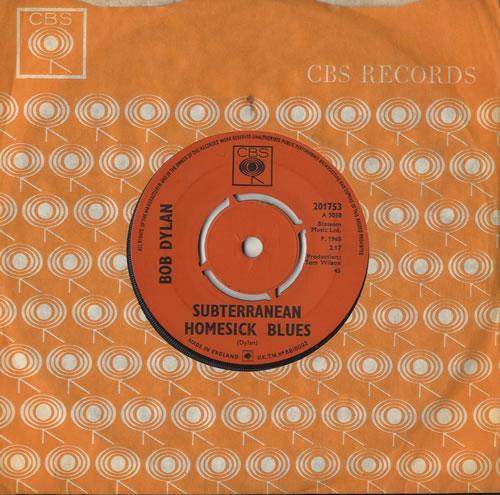"Bob Dylan Subterranean Homesick Blues 7"" vinyl single (7 inch record) UK DYL07SU317425"