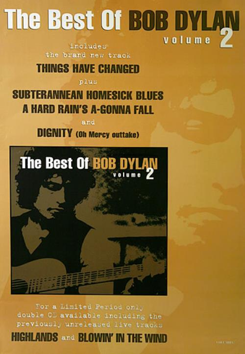 Bob Dylan The Best Of Bob Dylan Volume 2 poster UK DYLPOTH455752