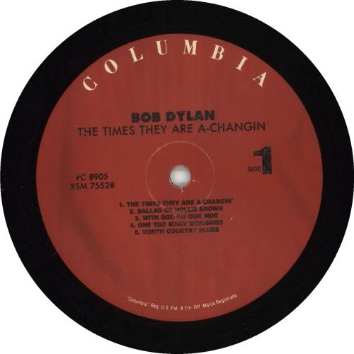 Bob Dylan The Times They Are A-Changin' - 180gm Vinyl + Shrinkwrap vinyl LP album (LP record) US DYLLPTH738786