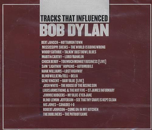 Bob Dylan Tracks That Influenced Bob Dylan CD album (CDLP) UK DYLCDTR453961