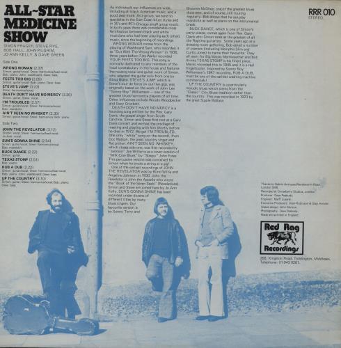 Bob Hall All-Star Medicine Show vinyl LP album (LP record) UK B9DLPAL763394
