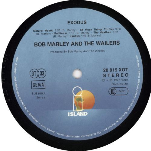 Bob Marley Exodus - Embossed vinyl LP album (LP record) German BMLLPEX720581