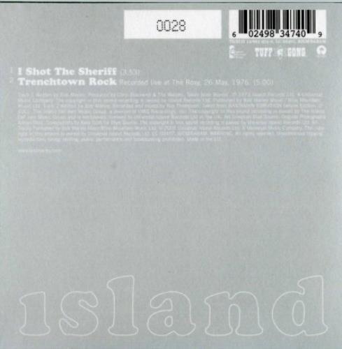 "Bob Marley I Shot The Sheriff - low number! CD single (CD5 / 5"") UK BMLC5IS381630"