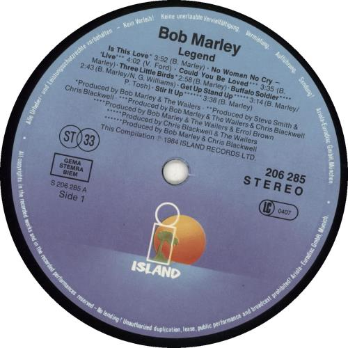 Bob Marley Legend - The Best Of Bob Marley And The Wailers vinyl LP album (LP record) German BMLLPLE690316