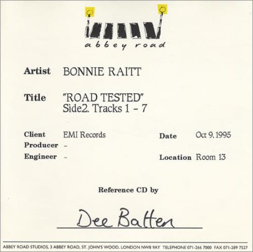Bonnie Raitt Road Tested Abbey Road CDR Acetate CD-R acetate UK BRTCRRO247612