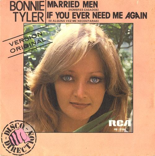 "Bonnie Tyler Married Men 7"" vinyl single (7 inch record) Spanish BTY07MA552944"