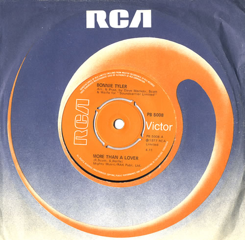 """Bonnie Tyler More Than A Lover - 4pr 7"""" vinyl single (7 inch record) UK BTY07MO559499"""