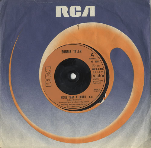 """Bonnie Tyler More Than A Lover - Injection 7"""" vinyl single (7 inch record) UK BTY07MO572941"""
