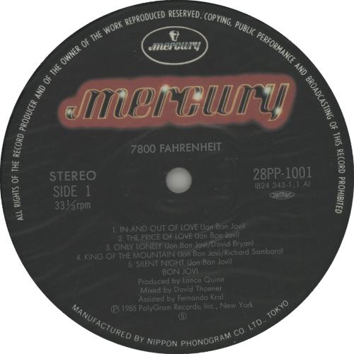 Bon Jovi 7800º Fahrenheit - Complete vinyl LP album (LP record) Japanese BONLPFA40005
