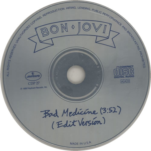 "Bon Jovi Bad Medicine CD single (CD5 / 5"") US BONC5BA631494"