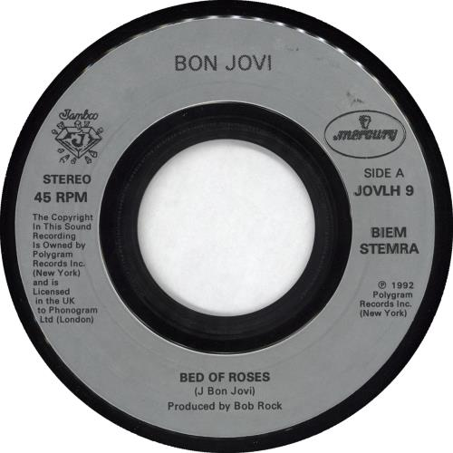 "Bon Jovi Bed Of Roses - Jukebox 7"" vinyl single (7 inch record) UK BON07BE350170"