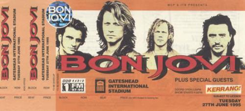 Bon Jovi Gateshead International Stadium and Don Valley Stadium concert ticket UK BONTIGA361321