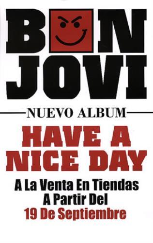 Bon Jovi Have A Nice Day poster Colombian BONPOHA346360