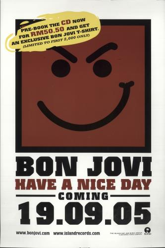 Bon Jovi Have A Nice Day poster Malaysia BONPOHA362172