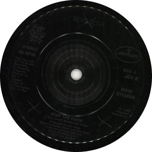 "Bon Jovi Keep The Faith - Jukebox 7"" vinyl single (7 inch record) UK BON07KE689232"