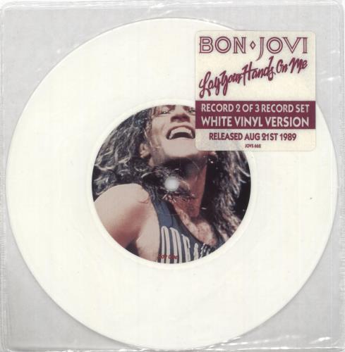 "Bon Jovi Lay Your Hands On Me - White 7"" vinyl single (7 inch record) UK BON07LA01468"