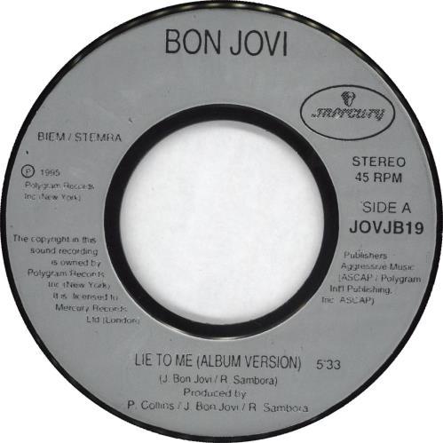"""Bon Jovi Lie To Me 7"""" vinyl single (7 inch record) US BON07LI281501"""