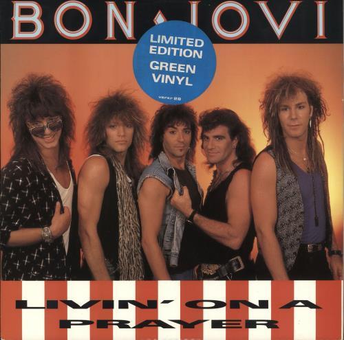 "Bon Jovi Livin' On A Prayer - Green Vinyl 12"" vinyl single (12 inch record / Maxi-single) UK BON12LI00506"