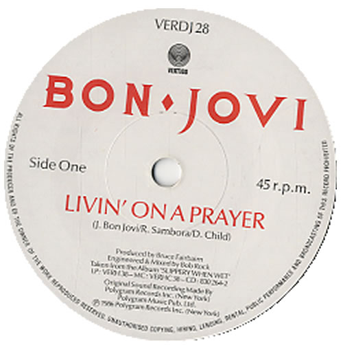 "Bon Jovi Livin' On A Prayer 7"" vinyl single (7 inch record) UK BON07LI24678"